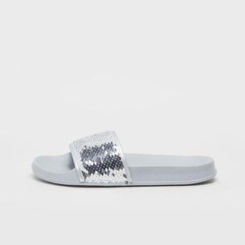 Textured Slip-On Slides with Sequin Detail