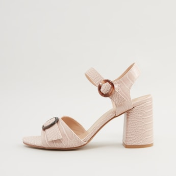 Textured Sandals with Block Heels and Pin Buckle Closure