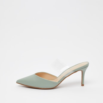 Pointed Toe Slip On Heeled Mules