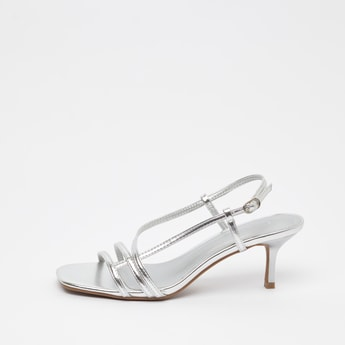 Solid Backstrap Sandals with Stiletto Heels