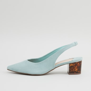 Solid Pointed Toe Pumps with Block Heels and Slip-On Styling