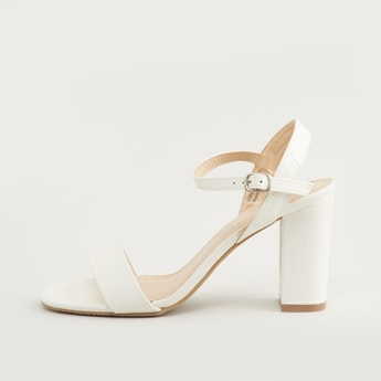 Textured Ankle Strap Block Heels with Pin Buckle Closure