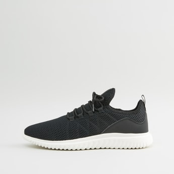 Textured Low Ankle Sneakers with Lace-Up Closure