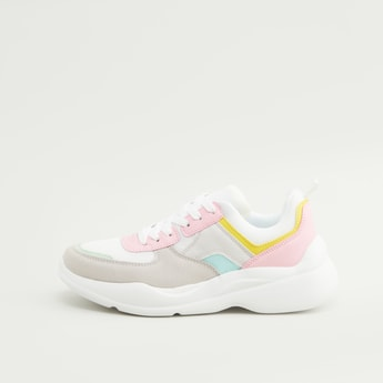 Colour Block Lace-Up Sports Shoes
