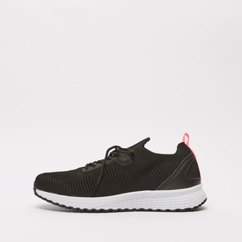 Textured Sports Shoes with Lace-Up Closure and Pull Tab