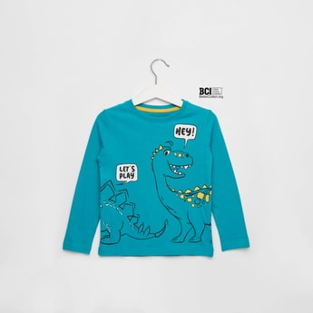 Dinosaur Print Round Neck T-shirt with Long Sleeves