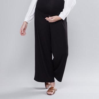 Maternity Textured Mid-Rise Palazzos