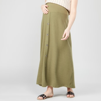 Maternity Textured Maxi A-line Skirt with Button Detail
