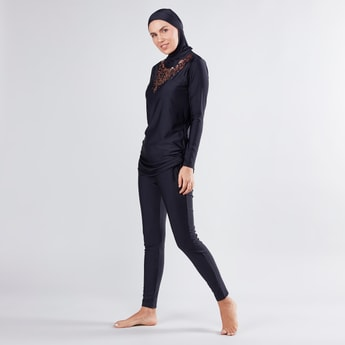 Foil Printed Burkini with Long Sleeves