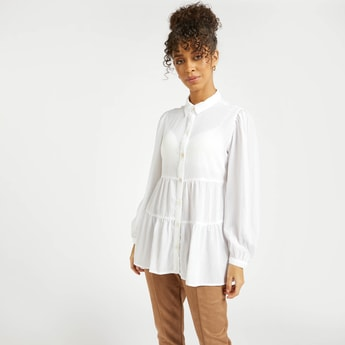 Textured Tiered Top with Spread Collar and Bishop Sleeves