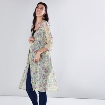 Maternity Floral Printed Shrug with 3/4 Sleeves and Tie Ups