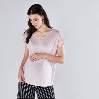 Maternity Lace Detail Cap Sleeves Top in Regular Fit with V-Neck