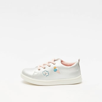 Embroidered Detail Sneakers with Pull Tab and Lace-Up Closure