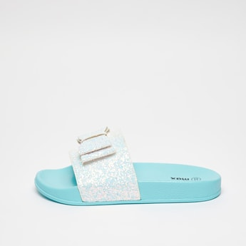 Textured Slip-On Slides with Bow and Glitter Accent