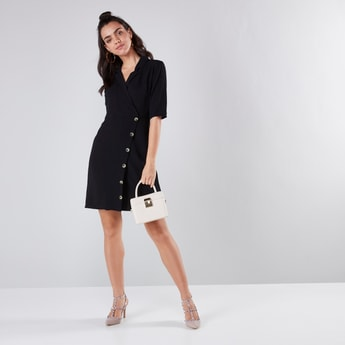 A-line Dress with Notch Collar and Short Sleeves