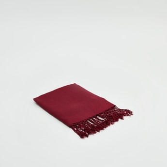 Textured Pashmina Scarf with Tassels
