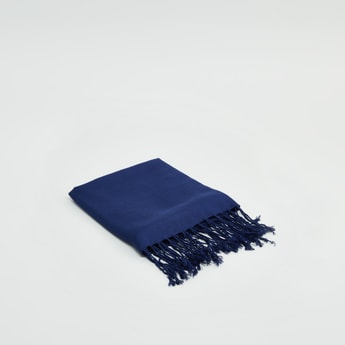 Textured Scarf with Fringed Tassels