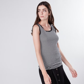 Striped Sleeveless Vest with Lace Detail