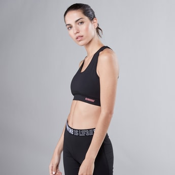 Printed Sports Bra in Slim Fit with Criss-Cross and Racerback