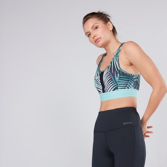 Printed Sports Bra with Scoop Neck and Mesh Detail