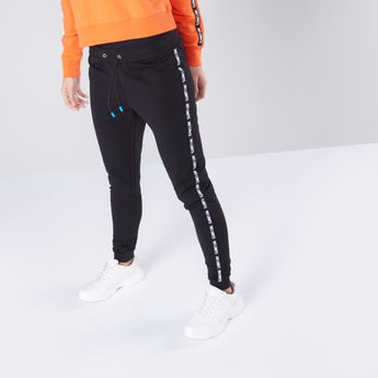 Tape Detail Joggers with Drawstring Closure