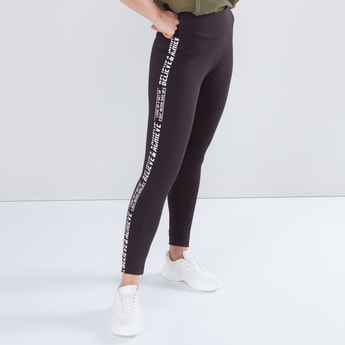 Full Length Printed Tape Detail Leggings