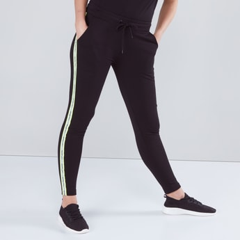 Full Length Jog Pants with Tap Detail and Drawstring