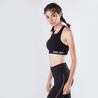 Text Printed Seamless Sports Bra with Racerback