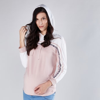 Maternity Long Sleeves Sweatshirt with Tape Detail and Hood