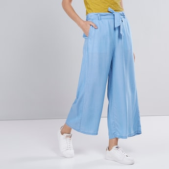 Wide Fit Solid Denim Palazzo Pants with Front-Knot Styling