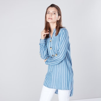 Striped Denim Tunic with V-neck and Long Sleeves