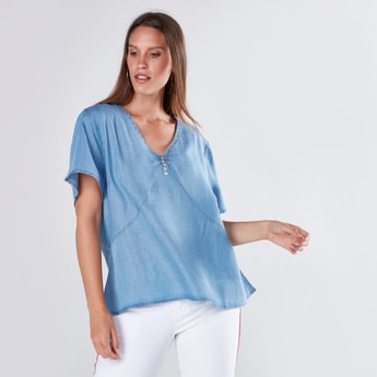 Button Detail Denim Top with V-Neck and Short Sleeves