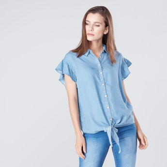 Solid Tie Front Collared Shirt with Ruffled Sleeves
