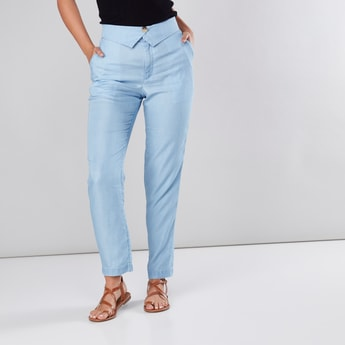 Full Length Pants in Regular Fit with Pocket Detail