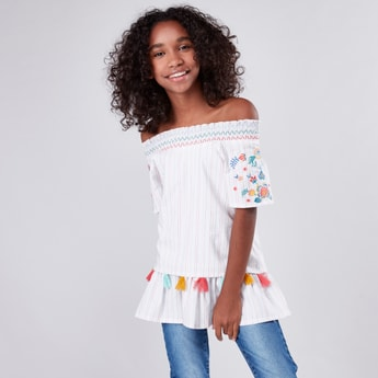 Striped and Embroidered Off Shoulder Top