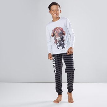 Avengers Printed Long Sleeves T-Shirt with Striped Jog Pants