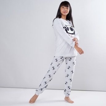 Panda Printed T-Shirt with Jog Pants