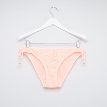 Textured Bikini Briefs with Side Knot Detail