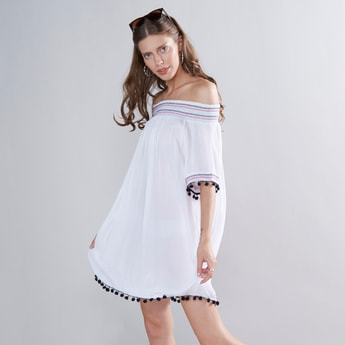Embroidered Off Shoulder Mini Dress with Smocking Detail and Tassels