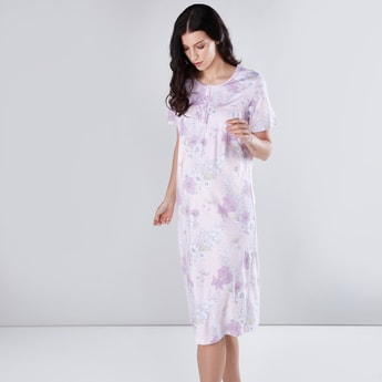 Maternity Printed Sleep Dress with Round Neck and Short Sleeves