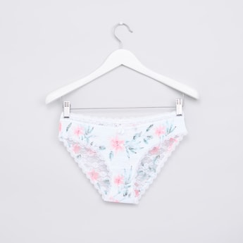 Floral Printed Hipster Briefs with Lace Detail