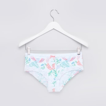 Printed Hipster Briefs with Elasticated Waistband