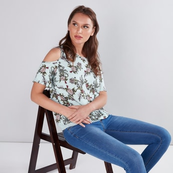Floral Printed Cold Shoulder Top with Lace Detail
