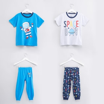 Printed Short Sleeves T-Shirt with Jog Pants - Set of 2