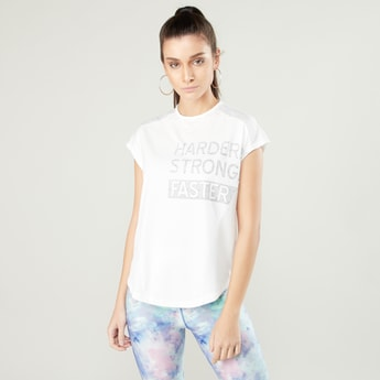 Printed T-shirt with Crew Neck and Cap Sleeves