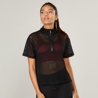 High Collared Mesh T-shirt with Short Sleeves and Zip Front