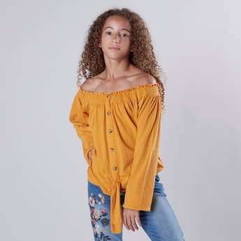 Plain Off-Shoulder Top with Tie Ups and Long Sleeves