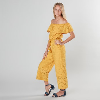 Broderie Off Shoulder Jumpsuit with Waist Tie Up