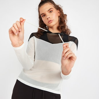 Mesh Top with Long Sleeves and Hood