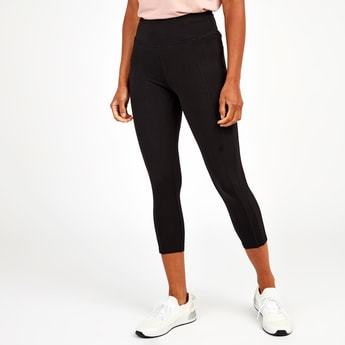 Slim Fit Cut and Sew Capri Leggings with Wide Elasticised Waistband
